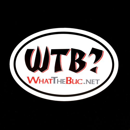 What The Buc Custom Oval Stickers