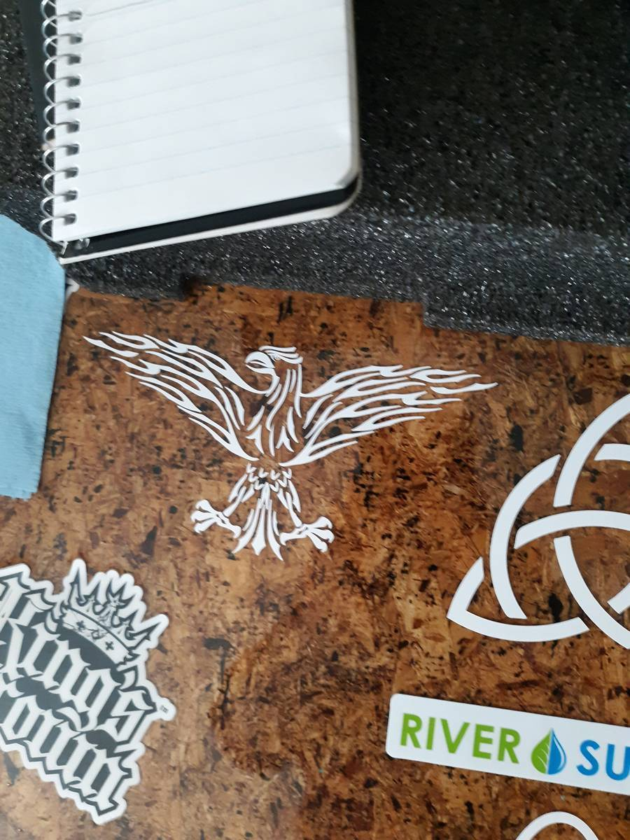 Richard's photograph of their Flaming Tribal Eagle Sticker