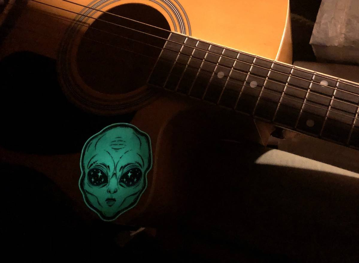 Christian's photograph of their Starry Eyed Green Alien Sticker