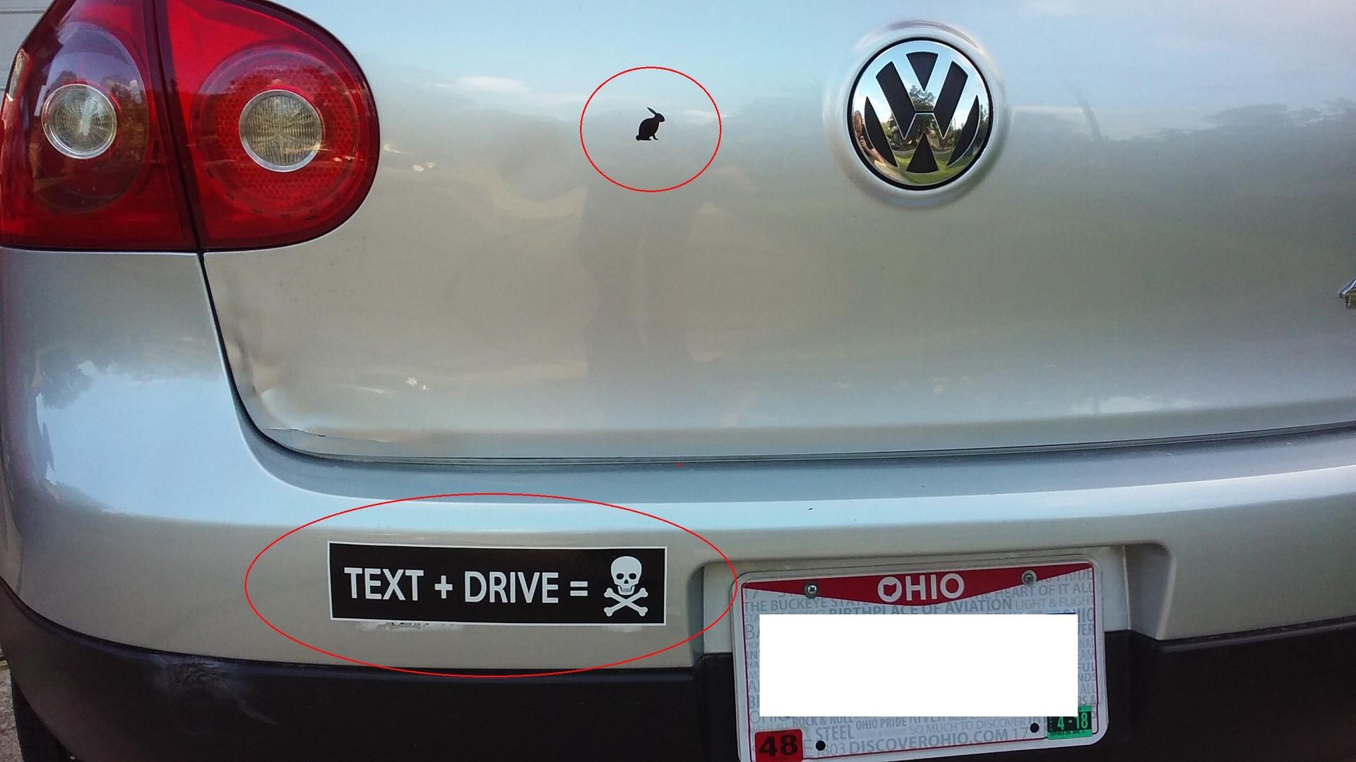 Roman's photograph of their Text + Drive Customizable Bumper Sticker