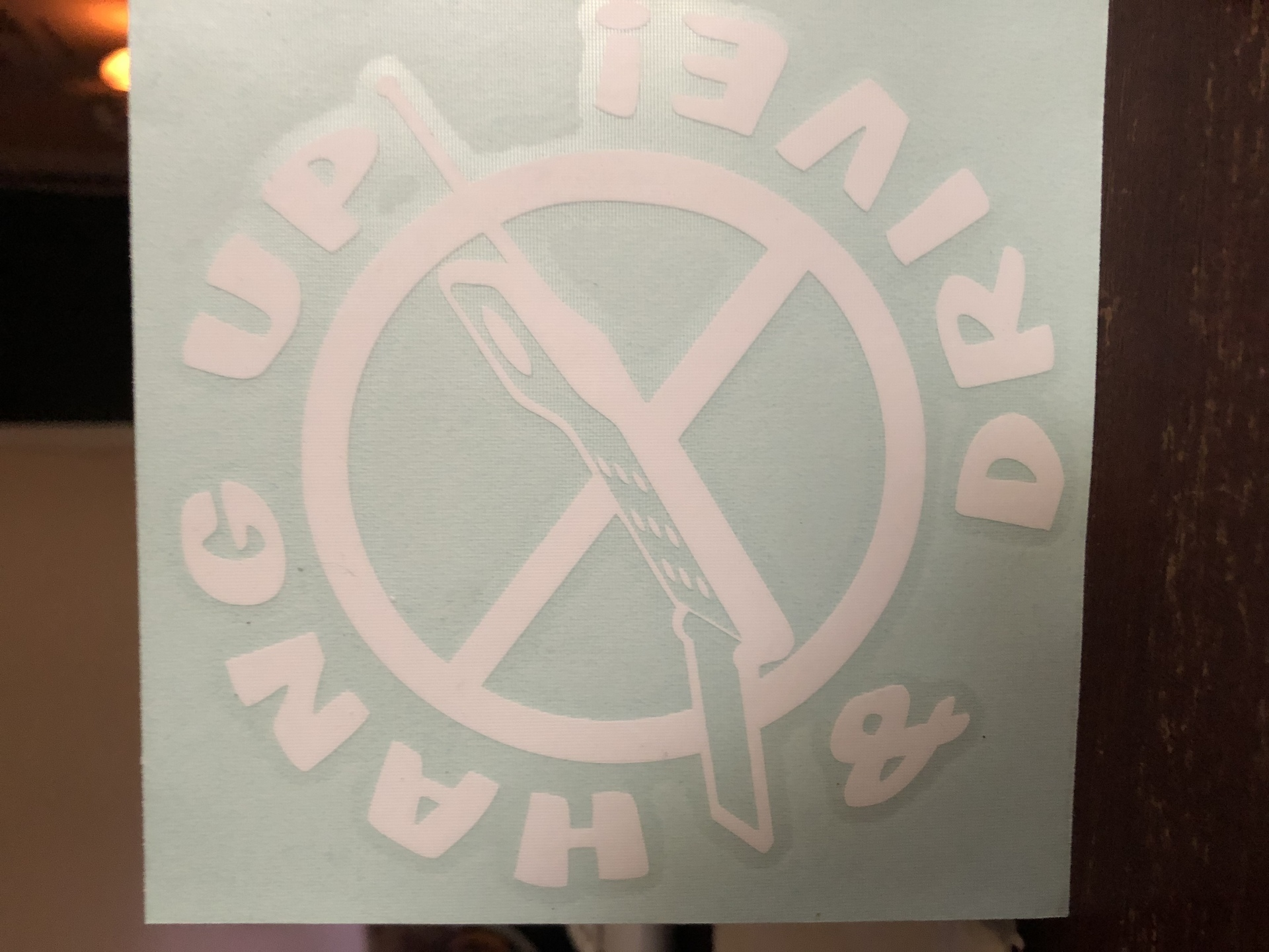 Sonja's photograph of their Hang Up The Cell Phone And Drive Vinyl Lettering Sticker
