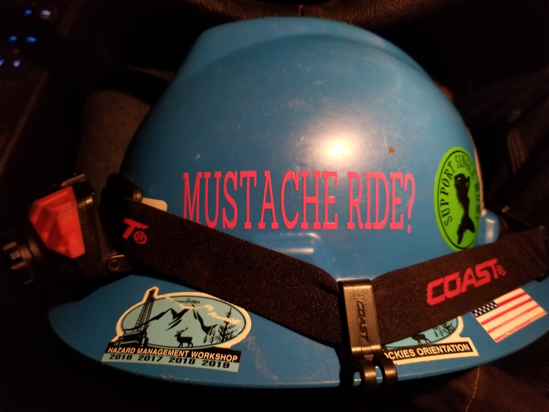 Kyle's photograph of their Hard Hat Stickers
