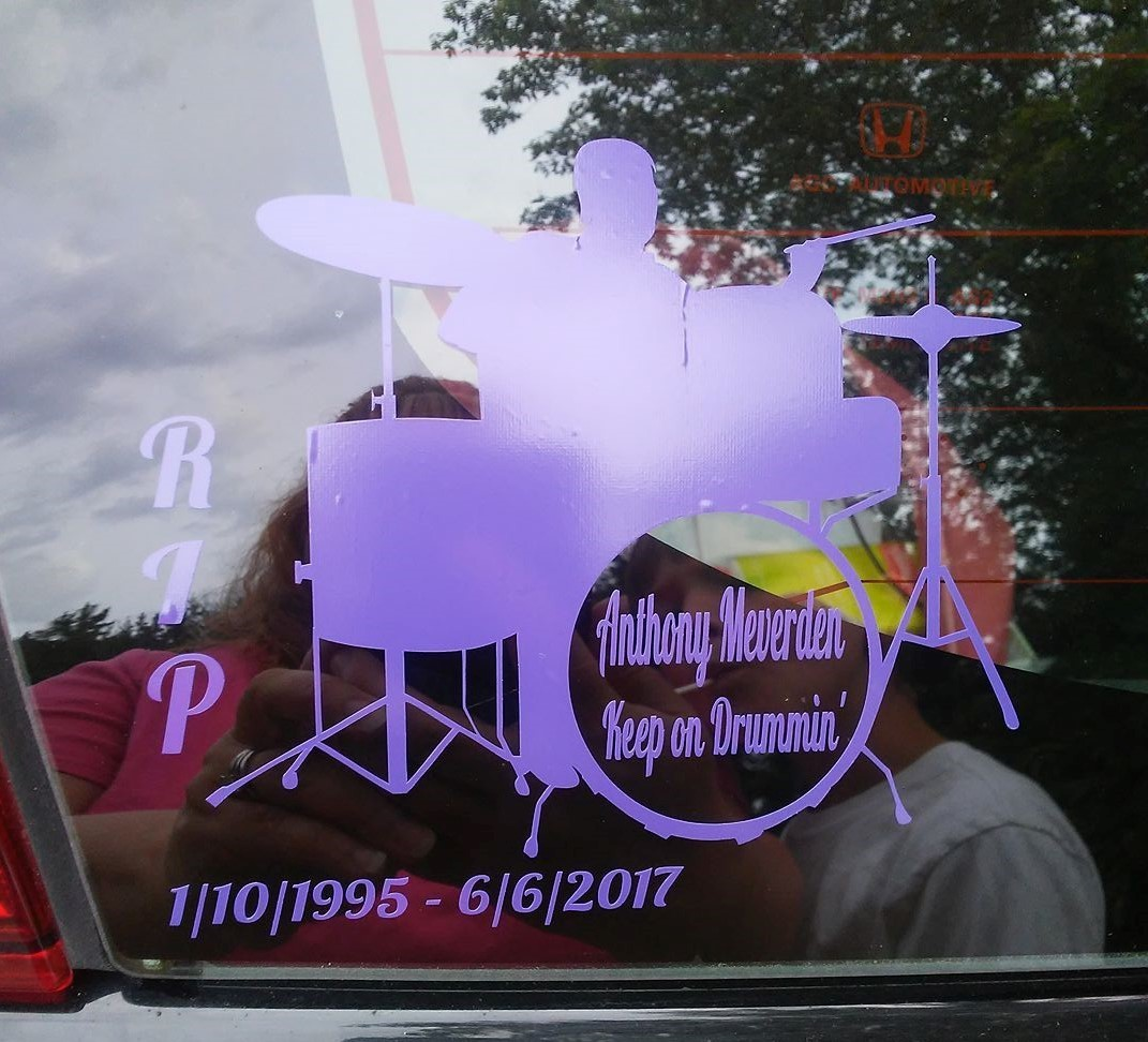 Jennifer's photograph of their Drum Set with Custom Text Sticker