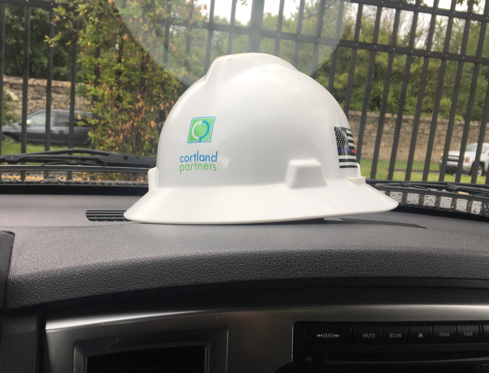 Stuart's photograph of their Hard Hat Stickers