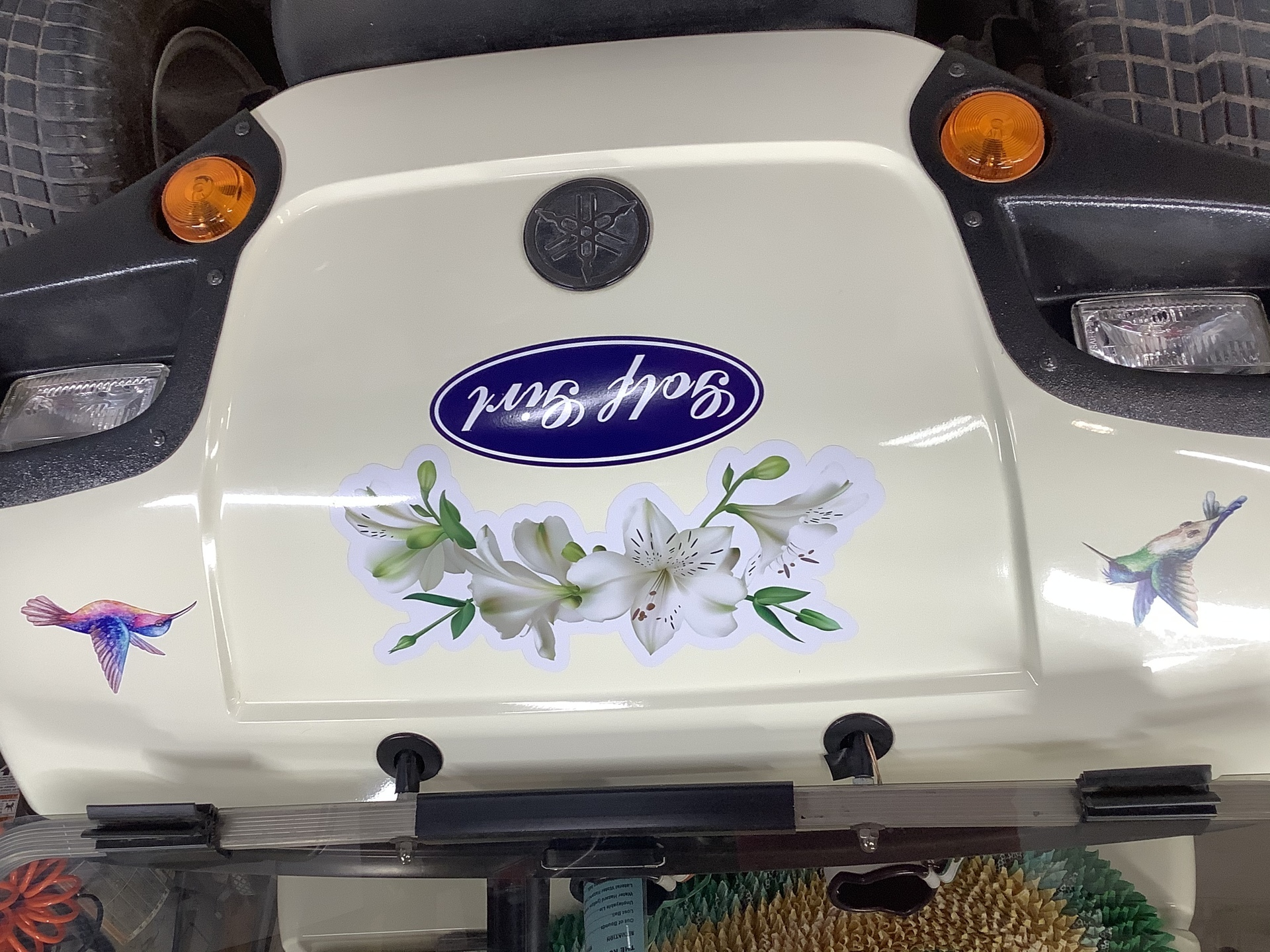 William's photograph of their White Lily  Flowers On A Branch Sticker