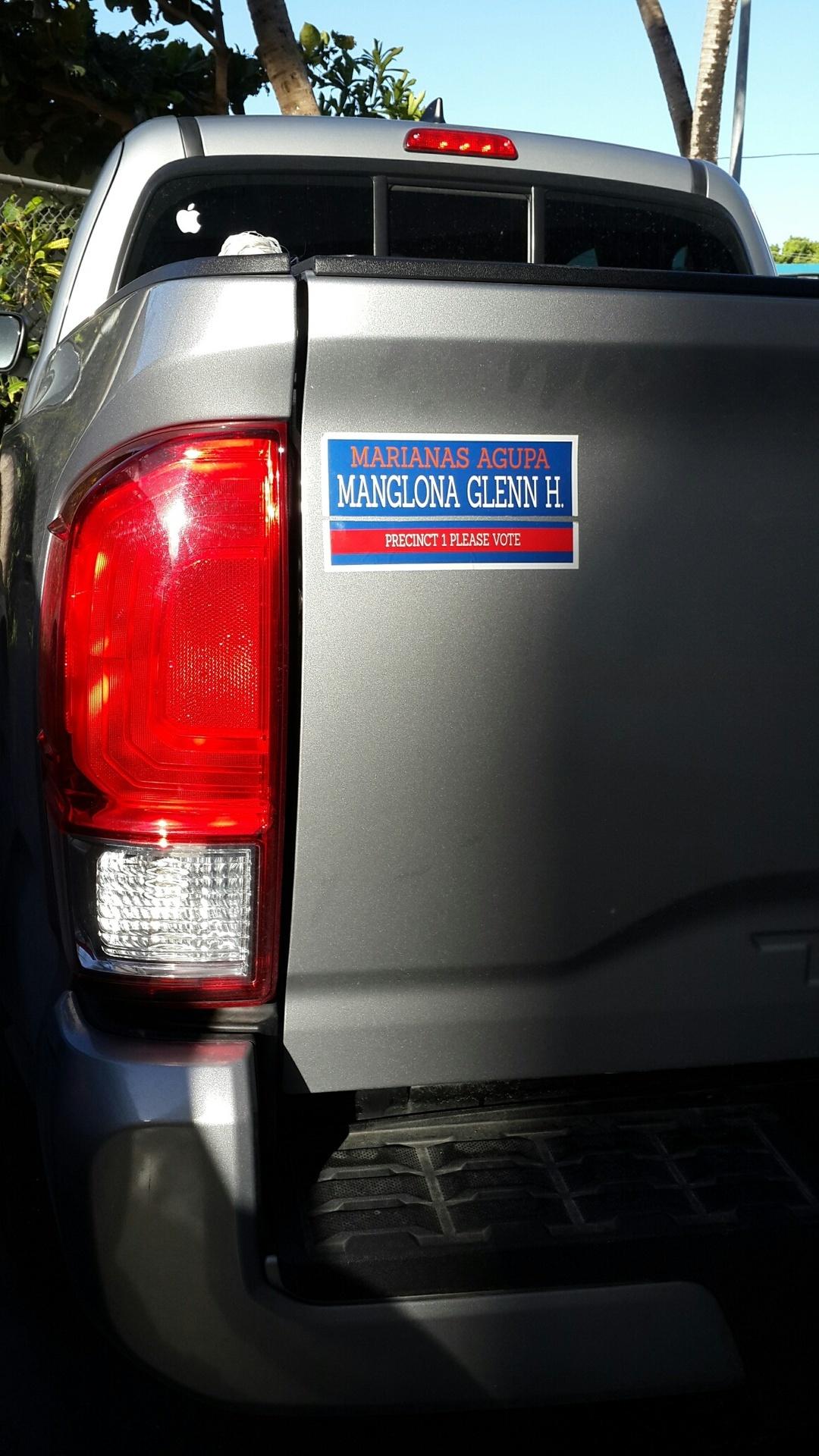 Glenn's photograph of their Custom Campaign Rectangle Sticker