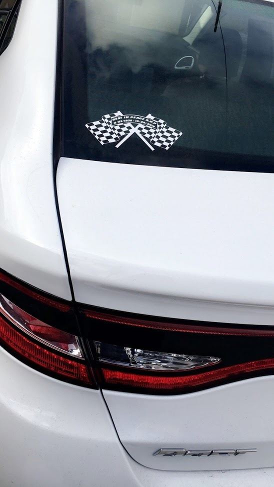 Reeana's photograph of their Checkered Racing Flags Sticker With Custom Wording