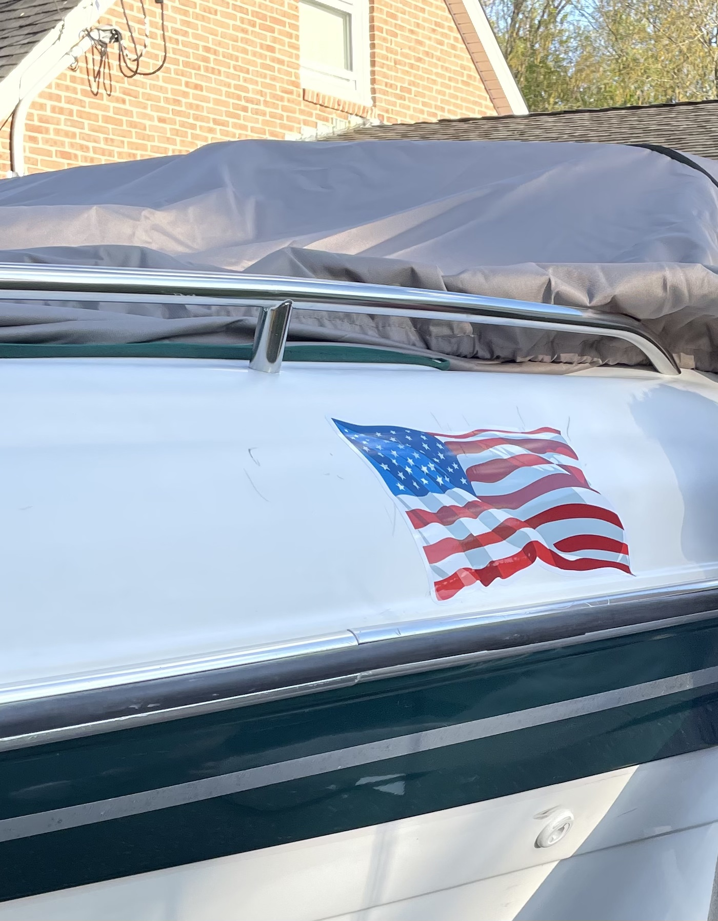 Michelle's photograph of their Rippling USA Flag Sticker