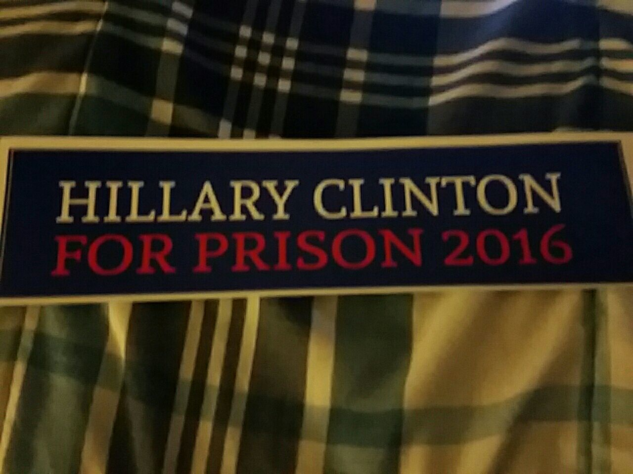 Cameron McCarty's photograph of their Hillary Clinton for Prison Bumper Sticker