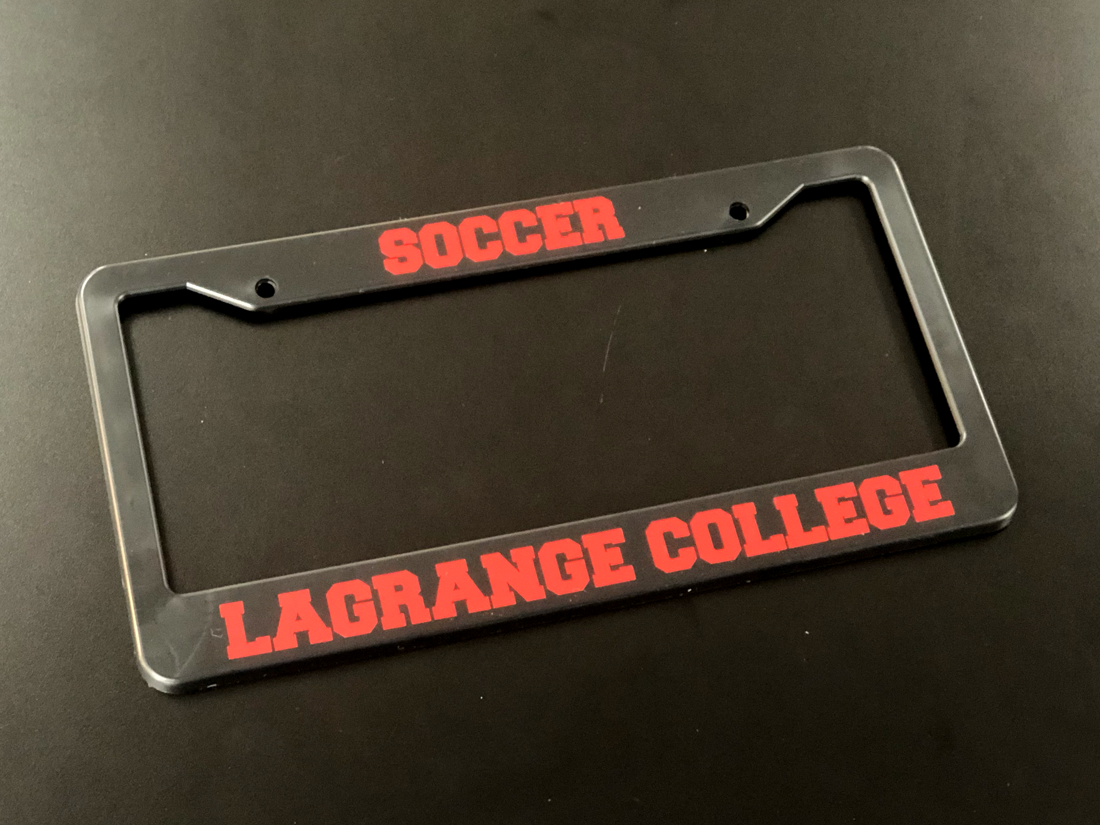 George's photograph of their Customizable Thick Top-Thick Bottom Black License Plate Frame
