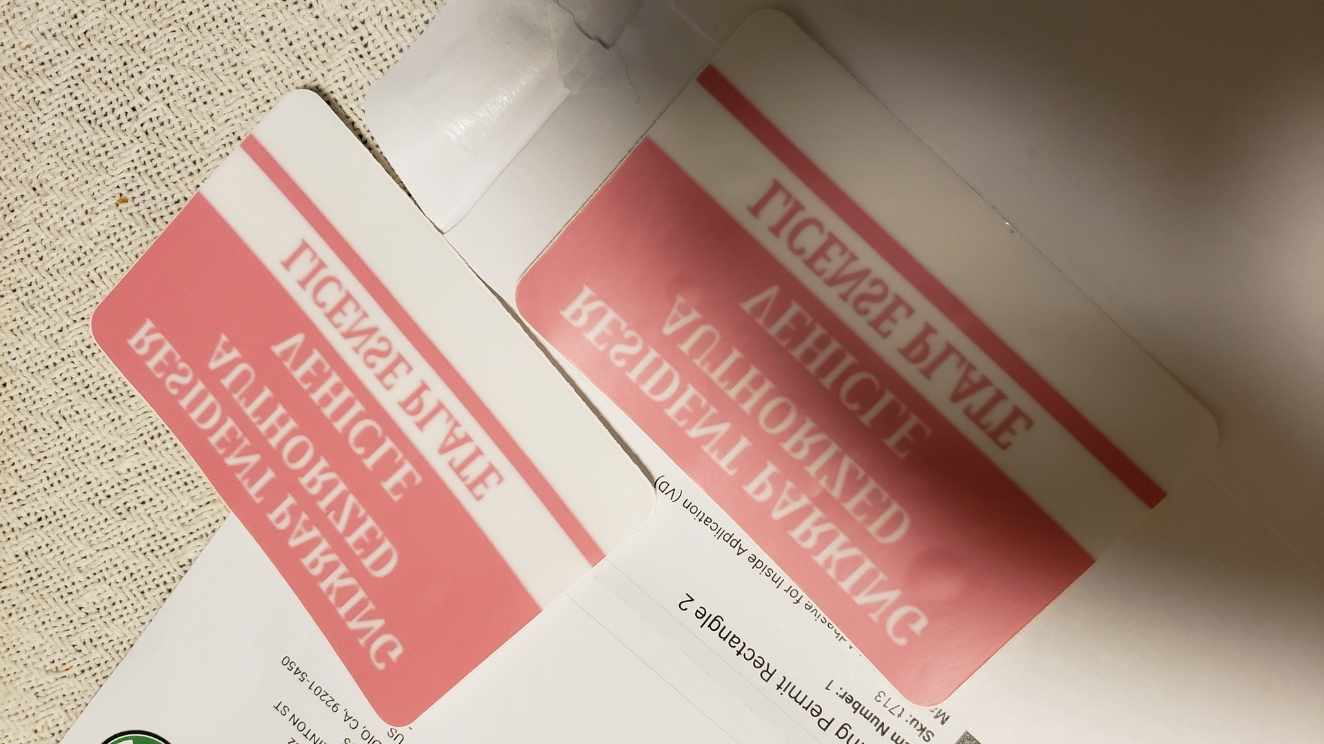 Amelia's photograph of their Parking Permit Rectangle 2