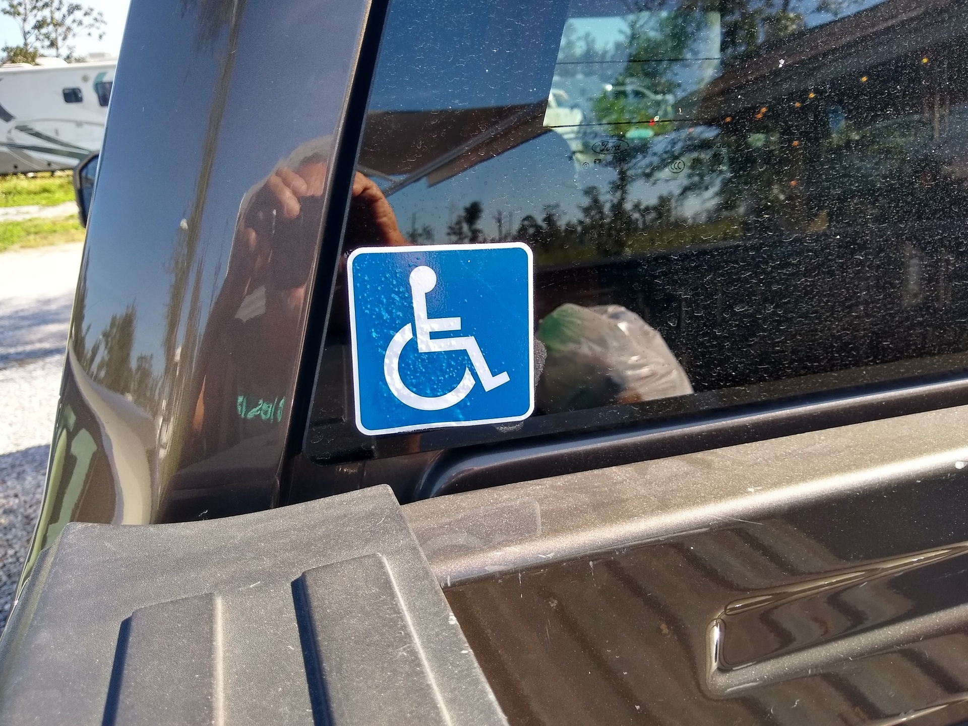 Charles's photograph of their Handicapped Sticker