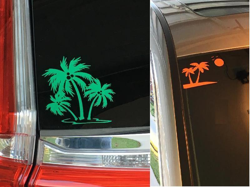 Kent's photograph of their Three Palm Trees With Coconuts Sticker