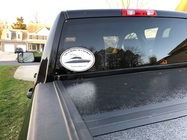 Tim's photograph of their Custom Oval Stickers with Text