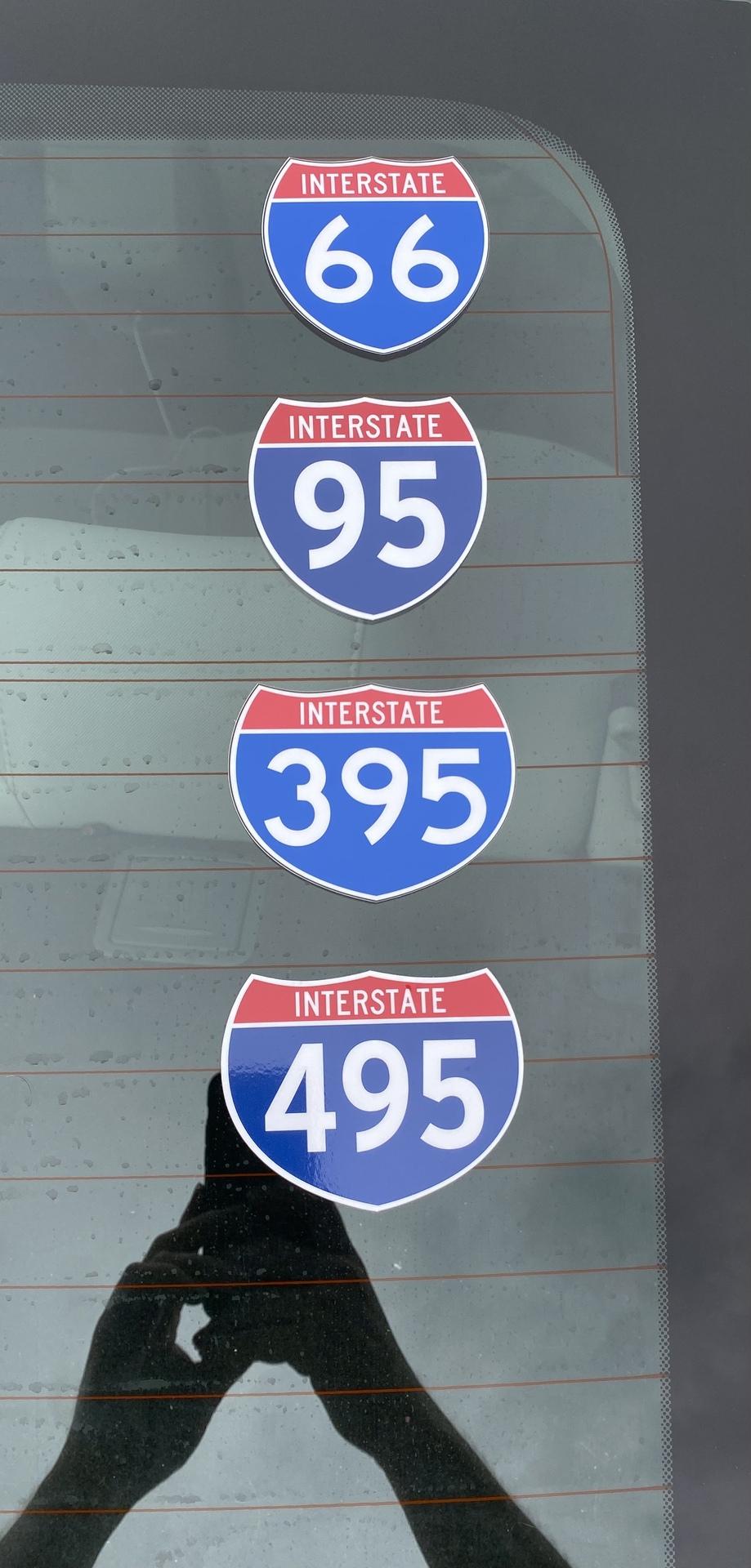 Tim's photograph of their Interstate 495 Sign Sticker