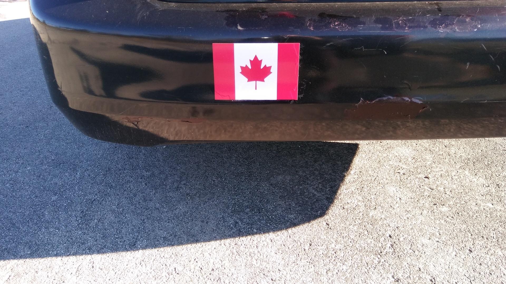 Tom's photograph of their Canada Flag Sticker