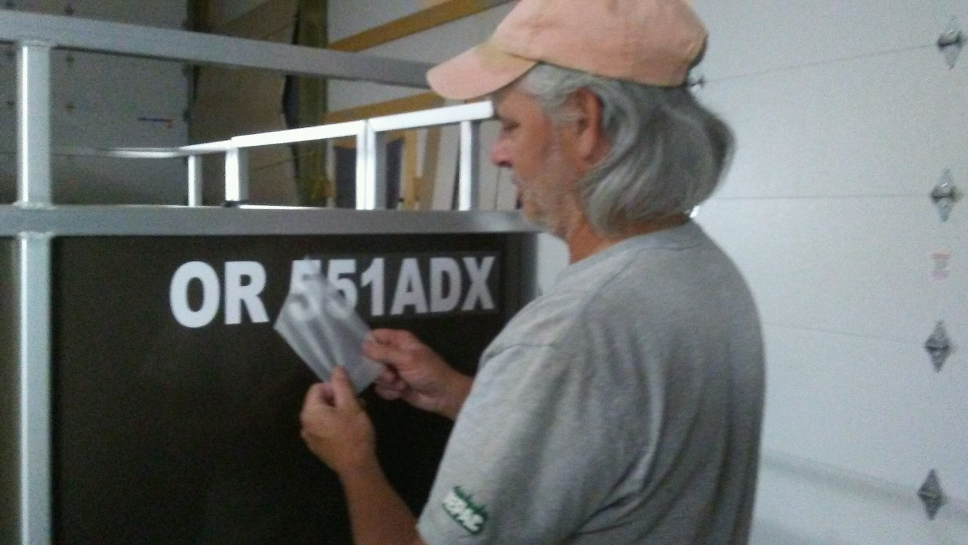 Timothy's photograph of their Boat Registration Number Sticker