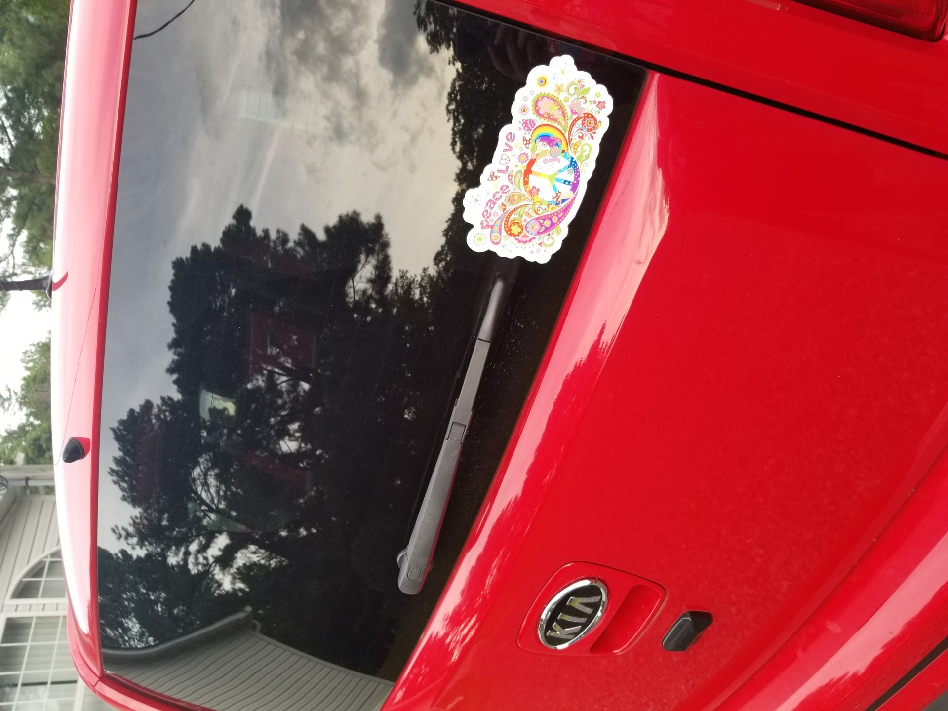 Karen's photograph of their Peace And Love Paisley Hippie Sticker