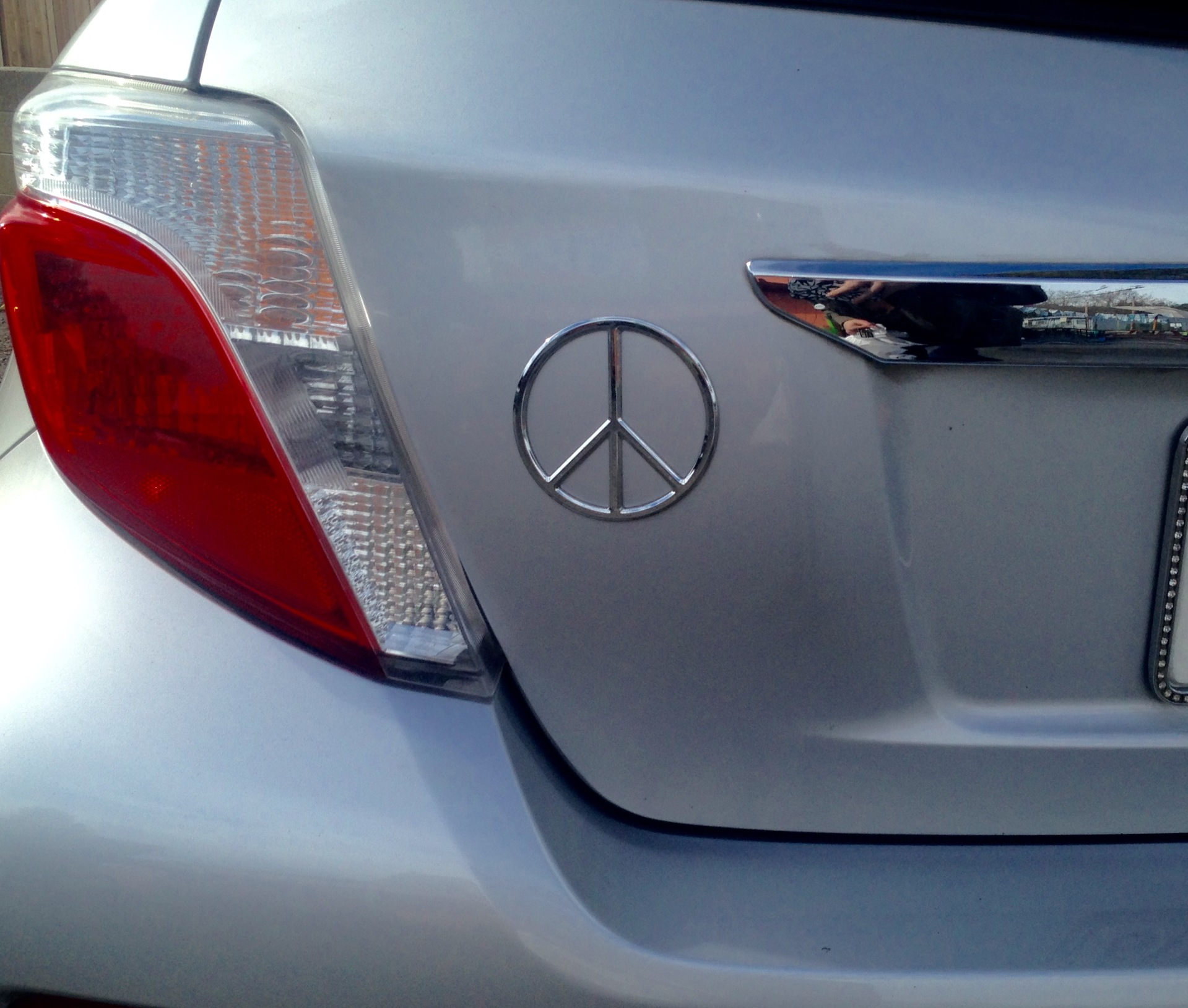 Kay's photograph of their Peace 3D Chrome Plated Sticker