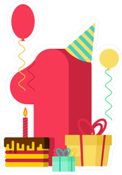 1 Year Happy Birthday Number Sticker