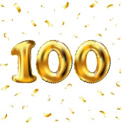100th Celebration Balloons And Confetti Sticker