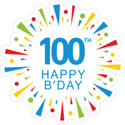 100th Happy Birthday Colorful Sticker