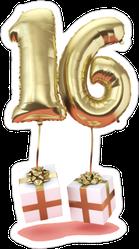 16 Birthday Helium Balloon Sticker