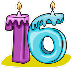 16th Birthday Candle Sticker