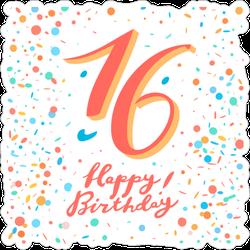 16th Happy Birthday Confetti Sticker