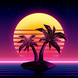 1980s Futuristic Palm Tree Island Sticker