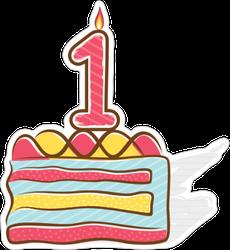 1st Birthday Cake Sticker