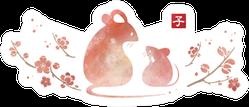 2020 New Year's Beautiful Rat Art Sticker