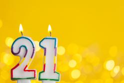 21 Birthday Candle Sticker