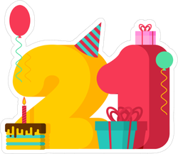 21 Year Birthday Festive Sticker