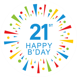 21st Happy Birthday Circle Sticker