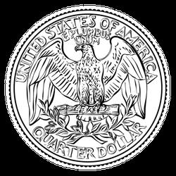 25 Cent Coin Quarter Sticker