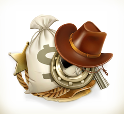3D Cowboy Gear Sticker