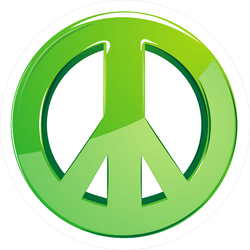 3D Green Peace Sign Sticker