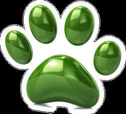 3d Illustration Of Green Paw Print Sticker