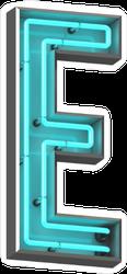 3D Neon Letter E Sticker