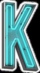 3D Neon Letter K Sticker