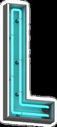 3D Neon Letter L Sticker