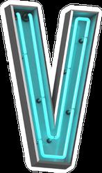 3D Neon Letter V Sticker