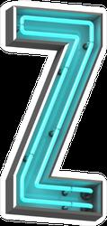 3D Neon Letter Z Sticker