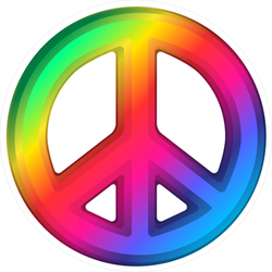 3D Rainbow Peace Sign Sticker