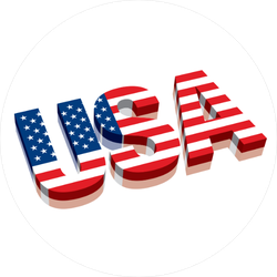 3D USA Text With American Flag Sticker