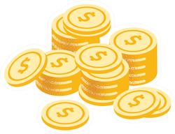 Stacks of Gold Coins Sticker
