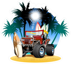 4x4 Car On Beach Sticker