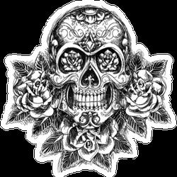 Skull And Roses Tattoo Sticker