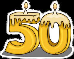 50th  Birthday Candle Sticker